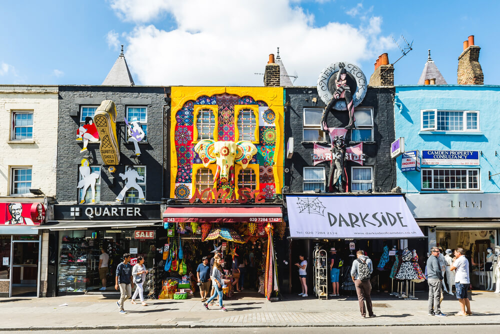 LONDON, UNITED KINGDOM - August 04, 2015: Camden Lock Bridge, famous alternative culture shops on August 4, 2015 in Camden Town, London. Camden Town markets are visited by 100,000 people each weekend