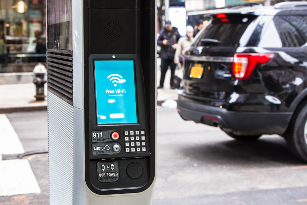 NEW YORK CITY - MARCH 29, 2018: LinkNYC Wi-fi kiosk on the street in New York City in midtown Manhattan.