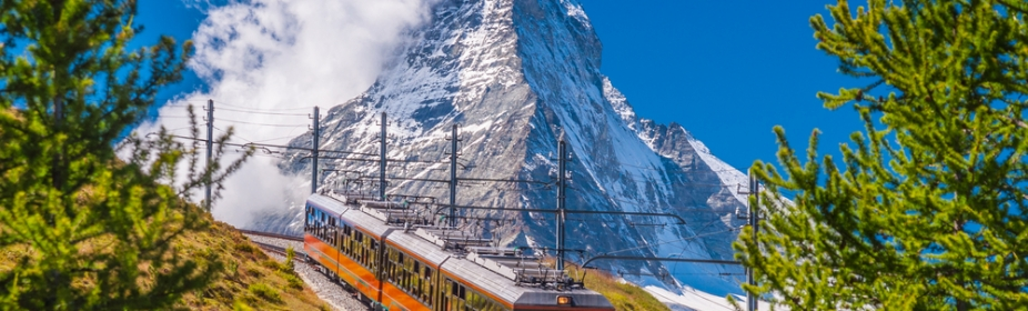 Mountain train passing Matterhorn peak