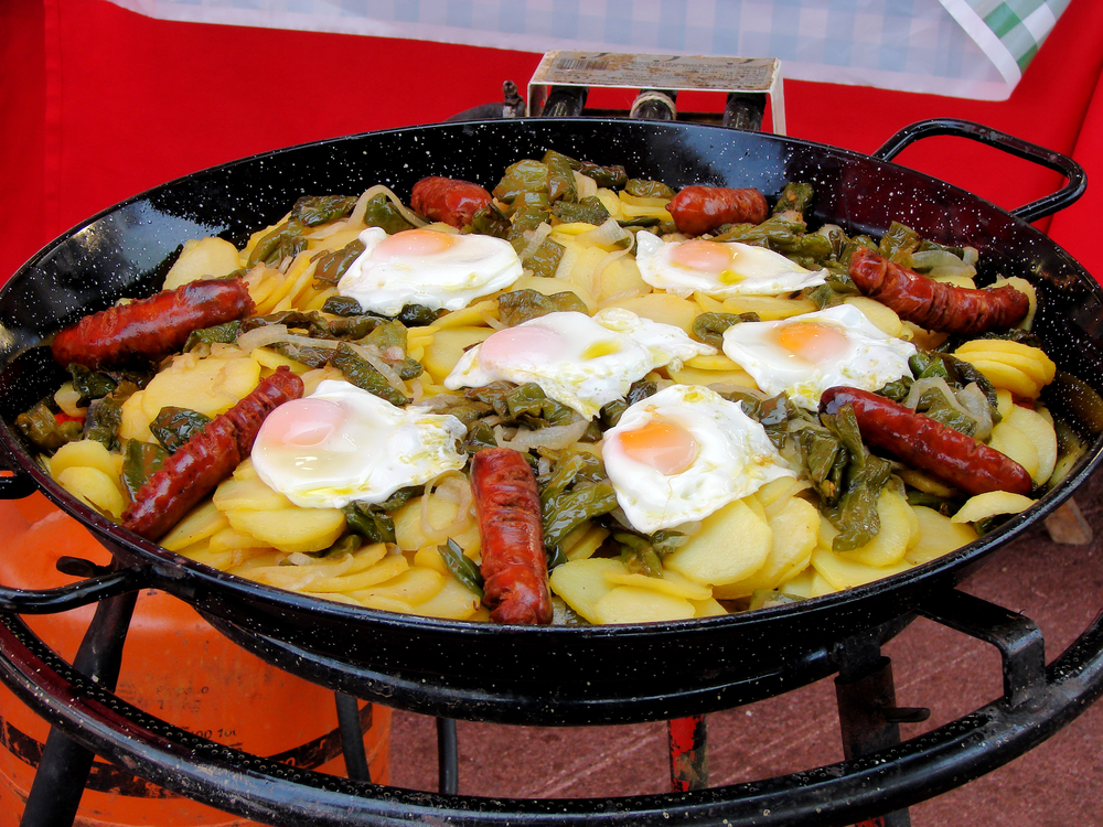 national spanish food at spring fair in barcelona, catalonia, spain