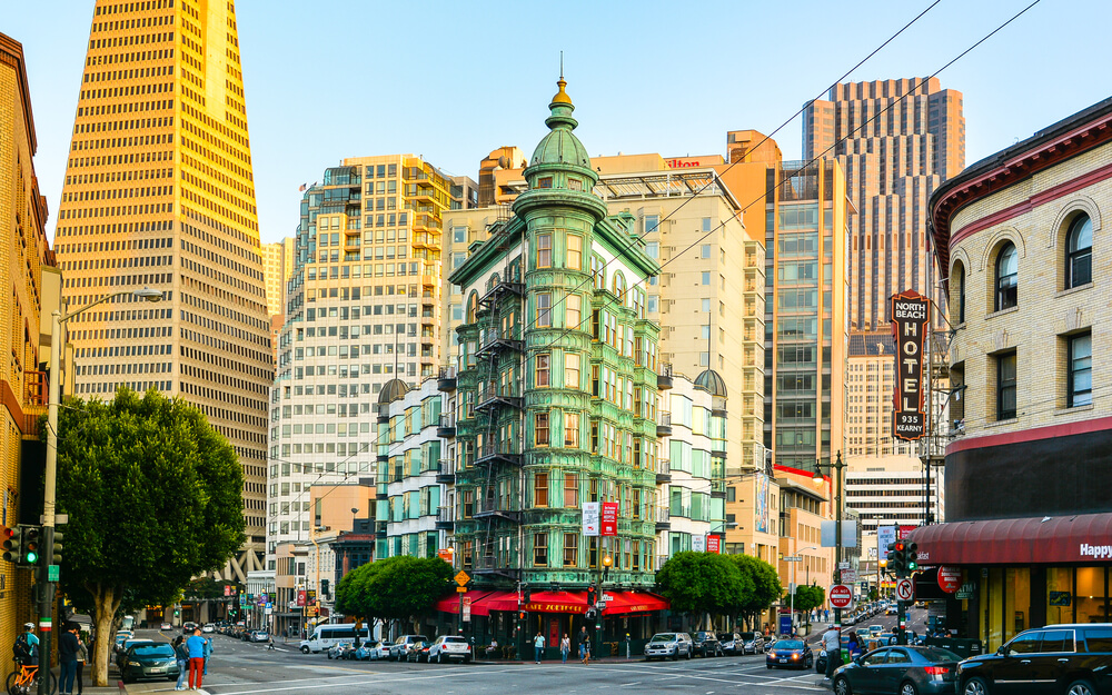 San Francisco, CA - Aug. 30, 2015: Columbus Tower. The copper-green Flatiron style structure is a mixed-used building that was completed in 1907, just after the 1906 San Francisco earthquake.