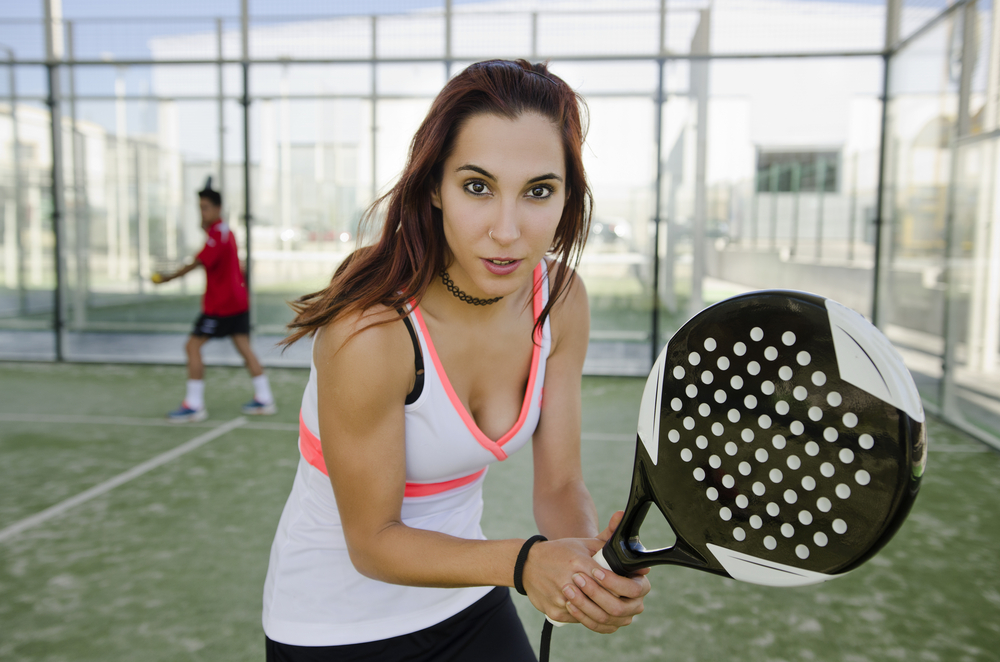 Woman playing paddle tennis