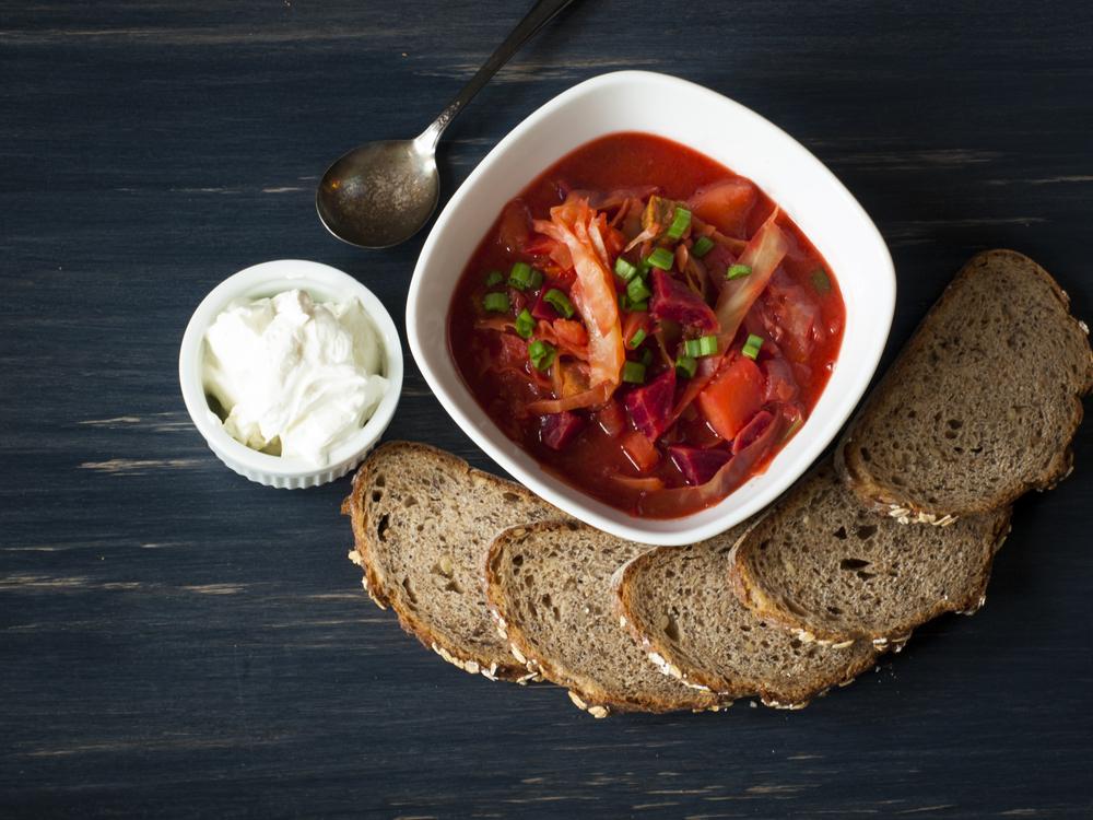 Russian borsch soup