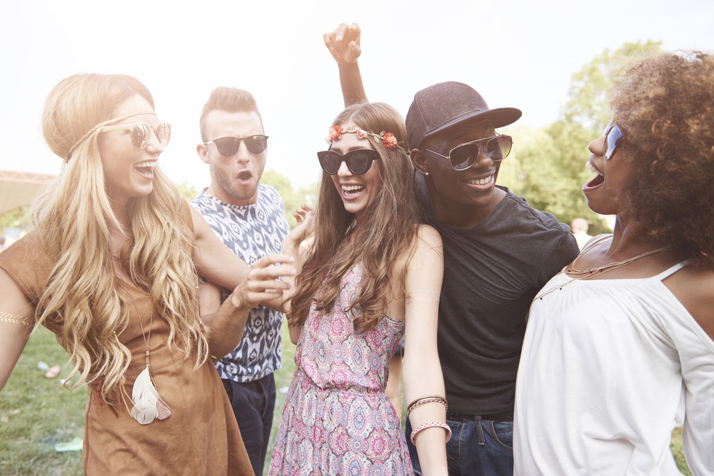 Friends at summer festival