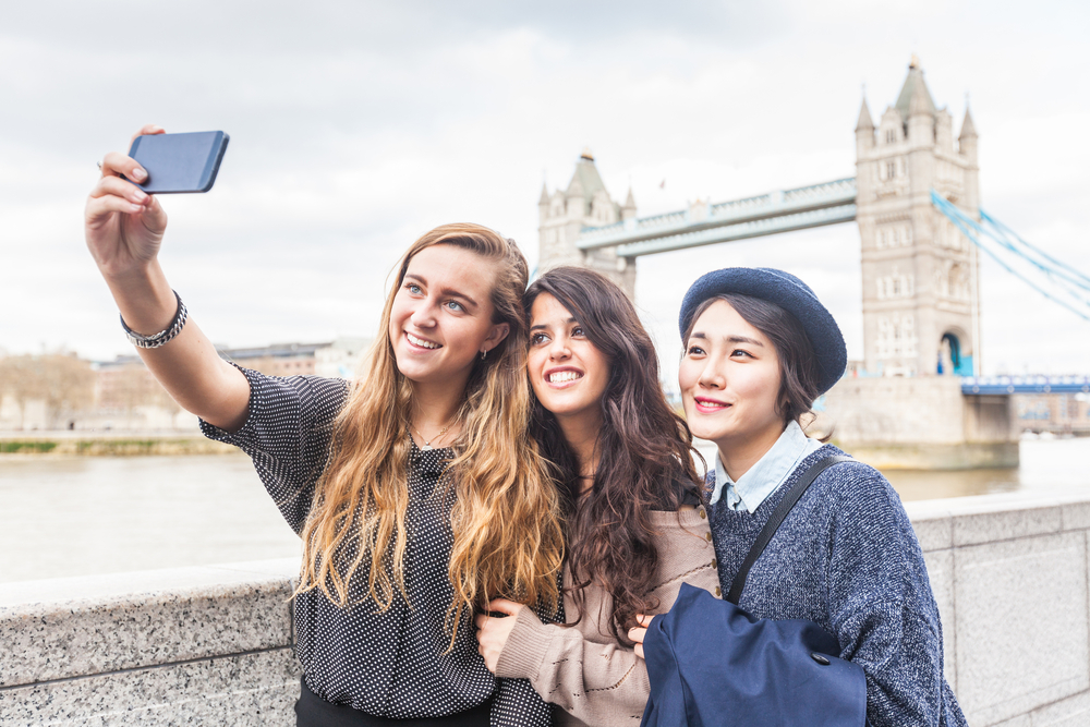 Group selfie in London