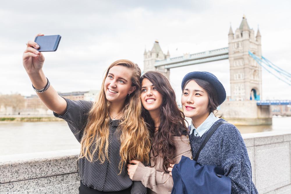 Group selfie in London