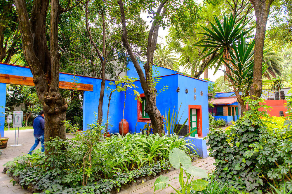 COYOACAN, MEXICO - OCT 28, 2016: Interior yard of the Blue House (La Casa Azul), historic house and art museum dedicated to the life and work of Mexican artist Frida Kahlo