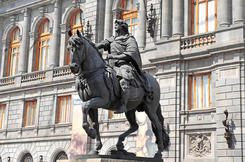 National Museum of Art and Statue of Charles IV in Mexico City historic centre.