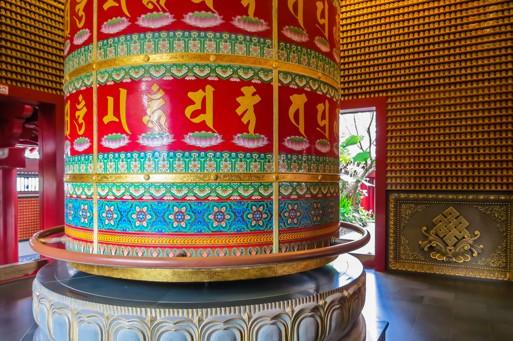 Vairocana Buddha Prayer Wheel at temple, Singapore