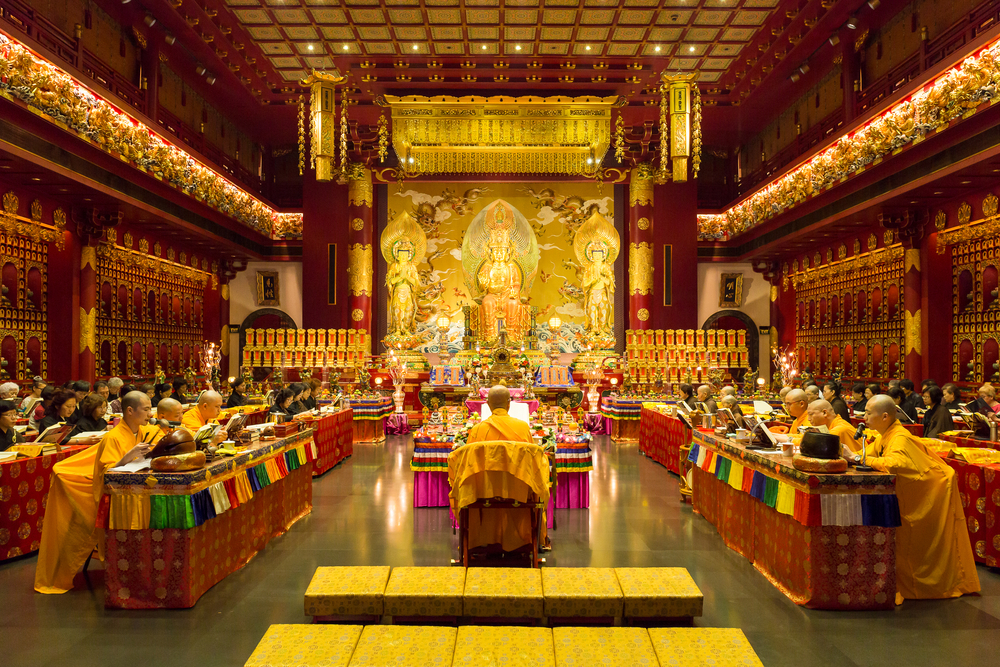 Interior of the Buddha Tooth Relic Temple, Singapore