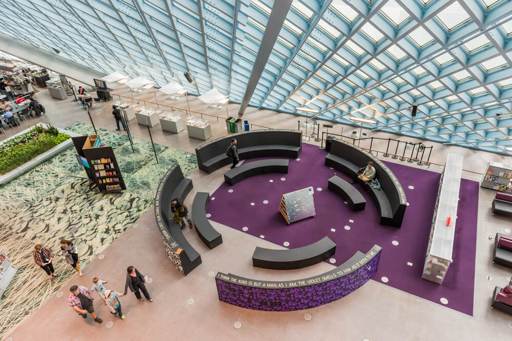 Aerial view of the interior of the Central Public Library in Seattle, USA