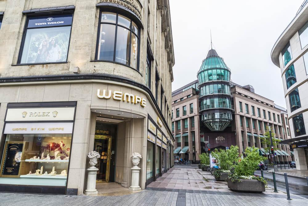 Konigsallee street and Schadow Arkaden Mall with a Rolex watch shop in Dusseldorf, Germany
