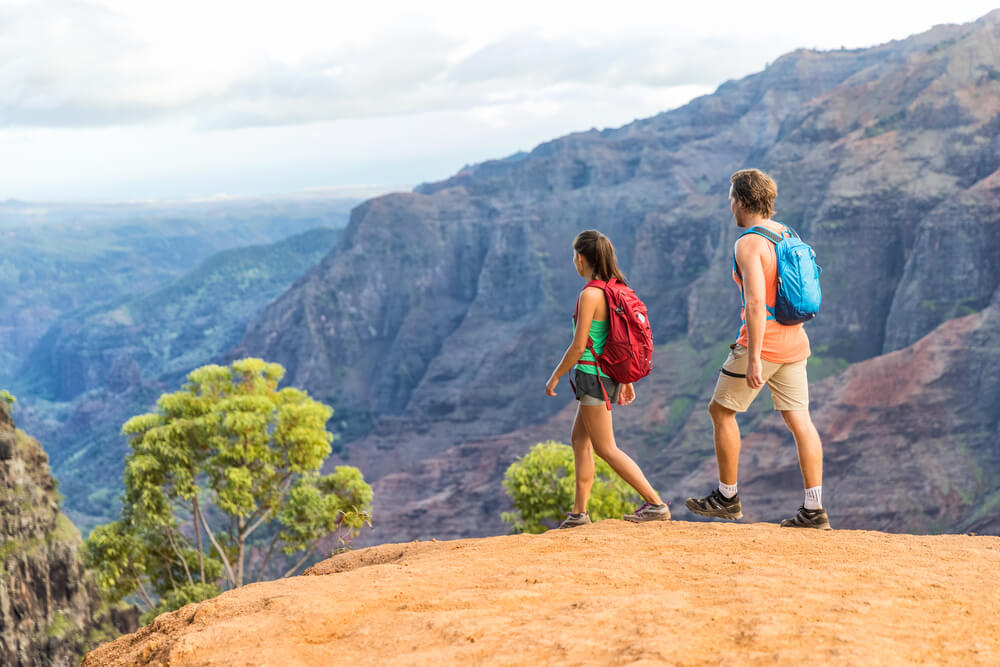A couple hiking at Waimea Canyon, Hawaii