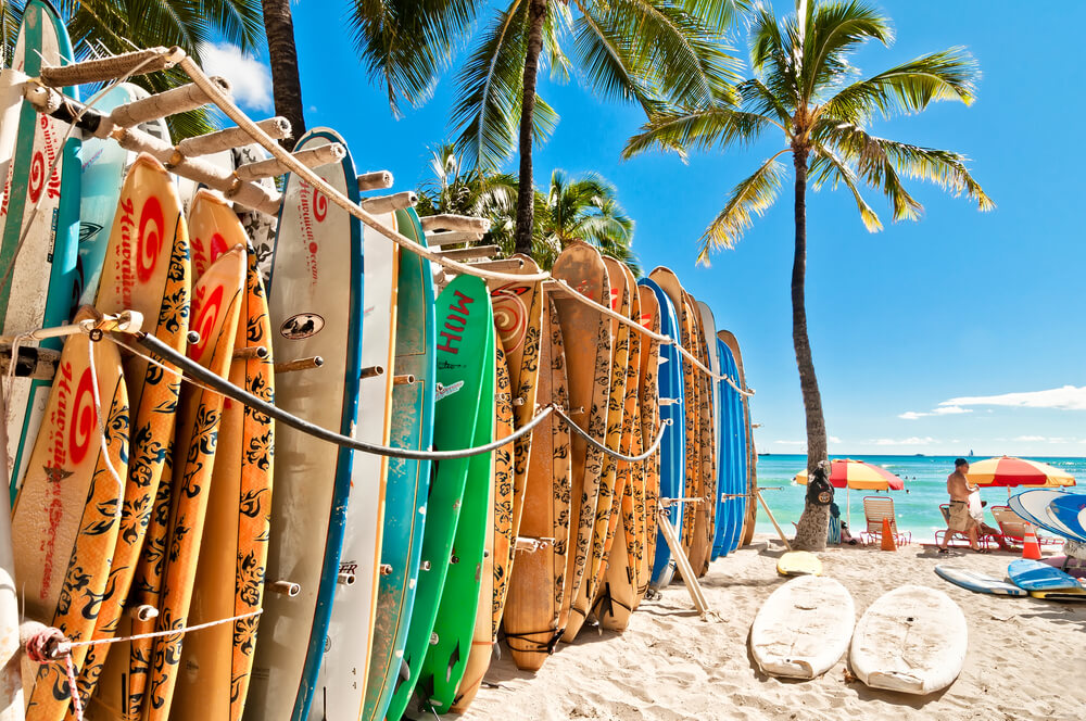Surfboards lined up at a beach at Oahu, Hawaii