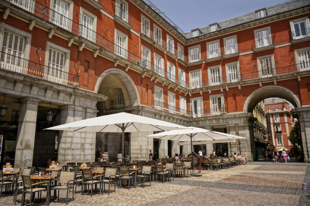 A view of restaurant at Plaza Mayor, Madrid, Spain