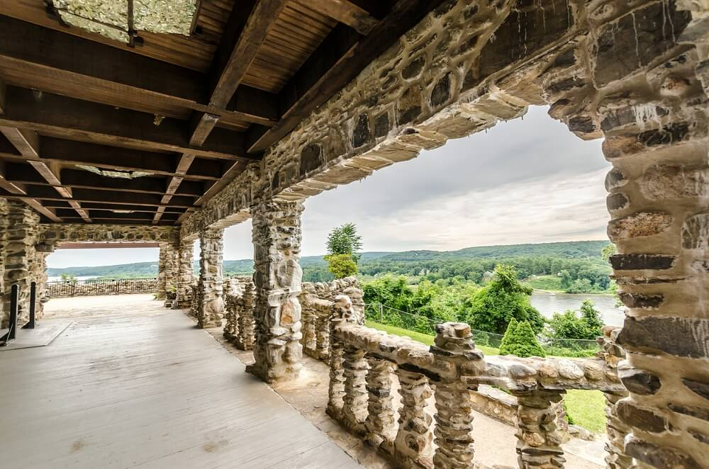 Terrace of Gillette Castle State Park in Connecticut, USA