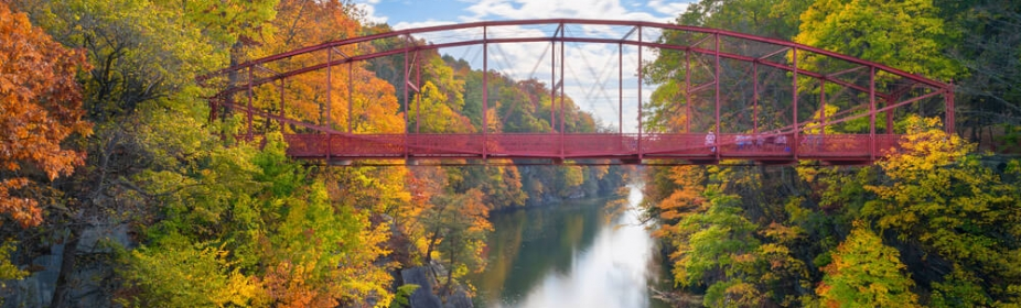 Red bridge at Lovers Leap in Connecticut, USA