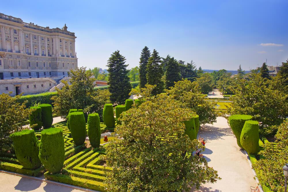 The Sabatini Gardens at the Royal Palace of Madrid, Spain