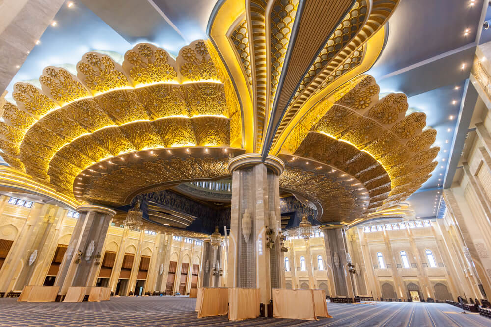 Prayer hall in the Grand Mosque in Kuwait