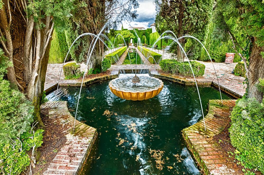 Alhambra Gardens in Granada, Spain
