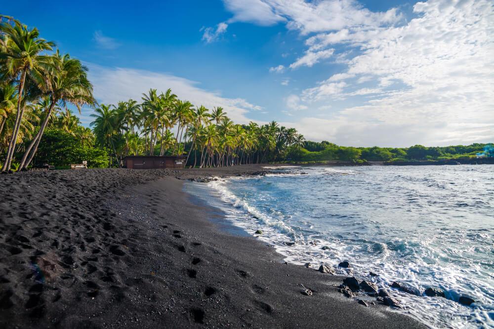 Black sand in Big Island, Hawaii