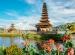 Pura Ulun Danu Bratan temple in Bali island. Hindu temple in flowers on Beratan lake, Asia. Major water temple Bali island, Indonesia. Hindu water temple - culture symbol of Indonesia, Asia landscape