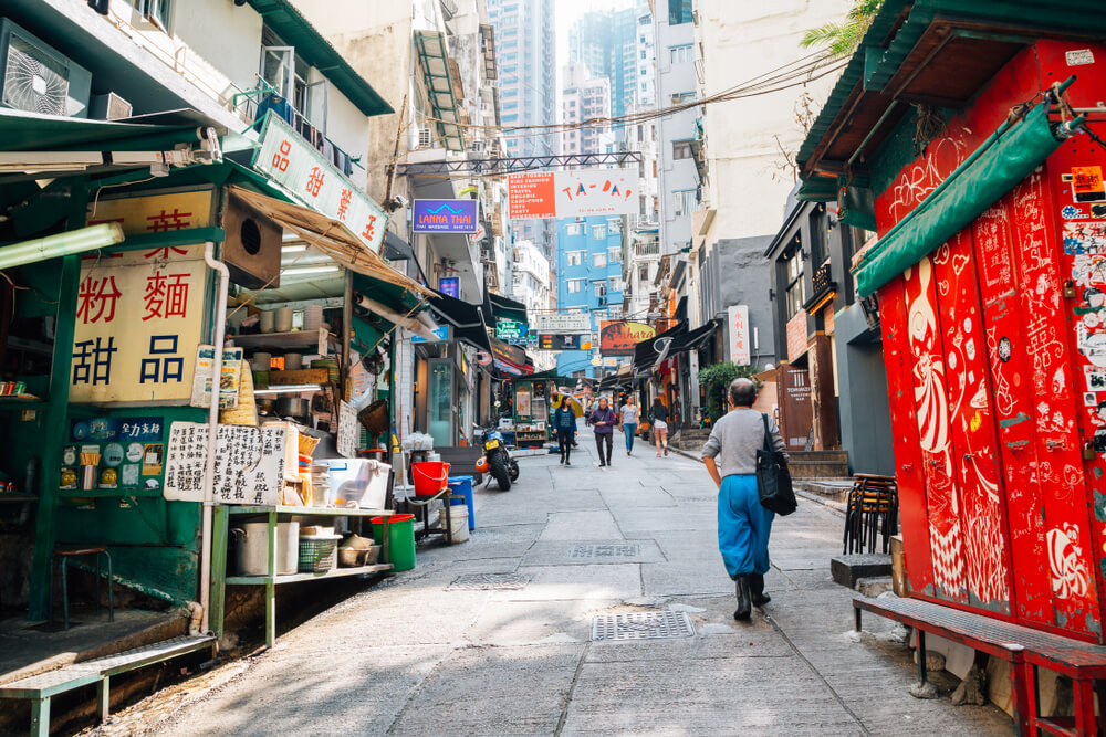 Hong Kong - March 20, 2017 : Central Soho street
