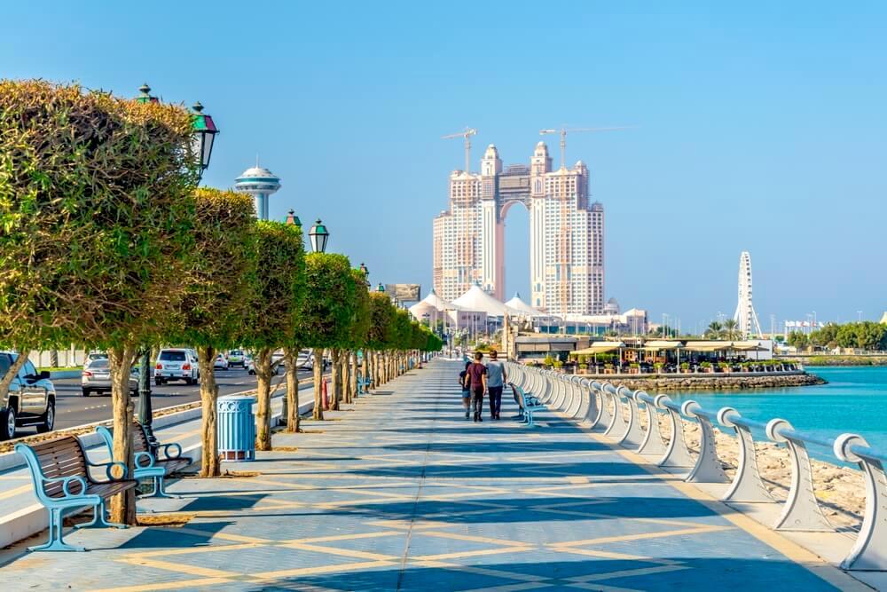 Corniche promenade in Abu Dhabi, UAE