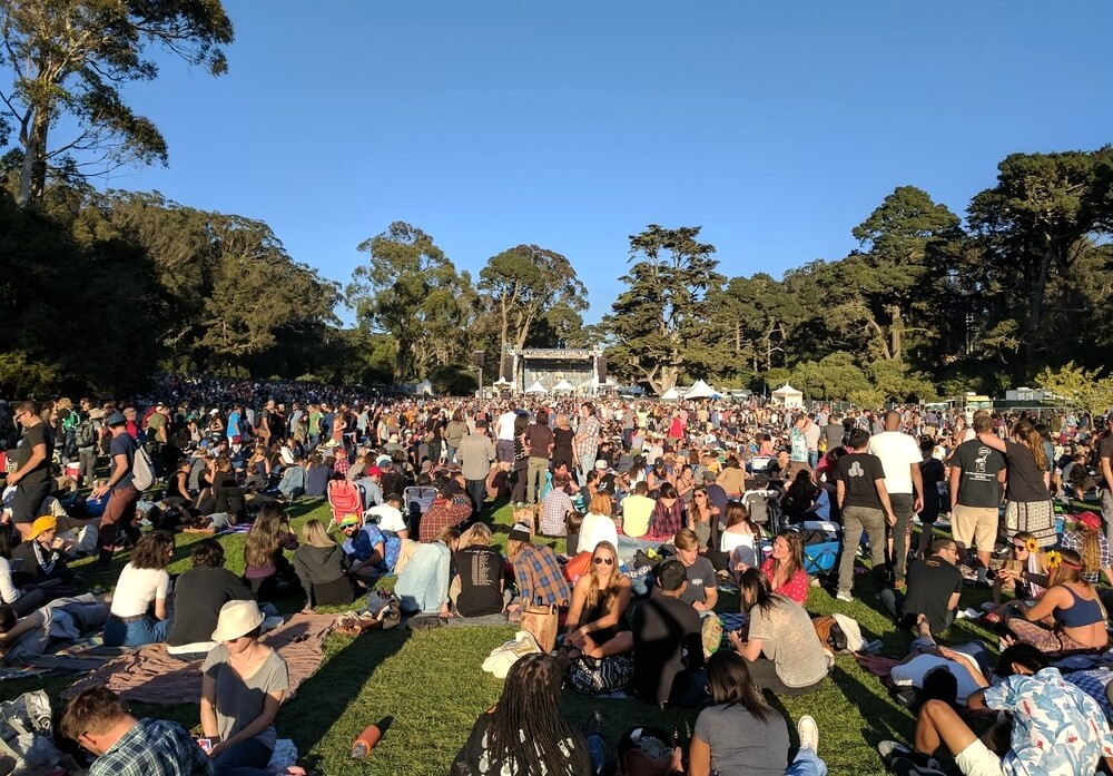 October 8, 2017 - San Francisco, California: Hundreds of thousands of people attend the annual Hardly Strictly Bluegrass Festival in Golden Gate Park held every first weekend in October.
