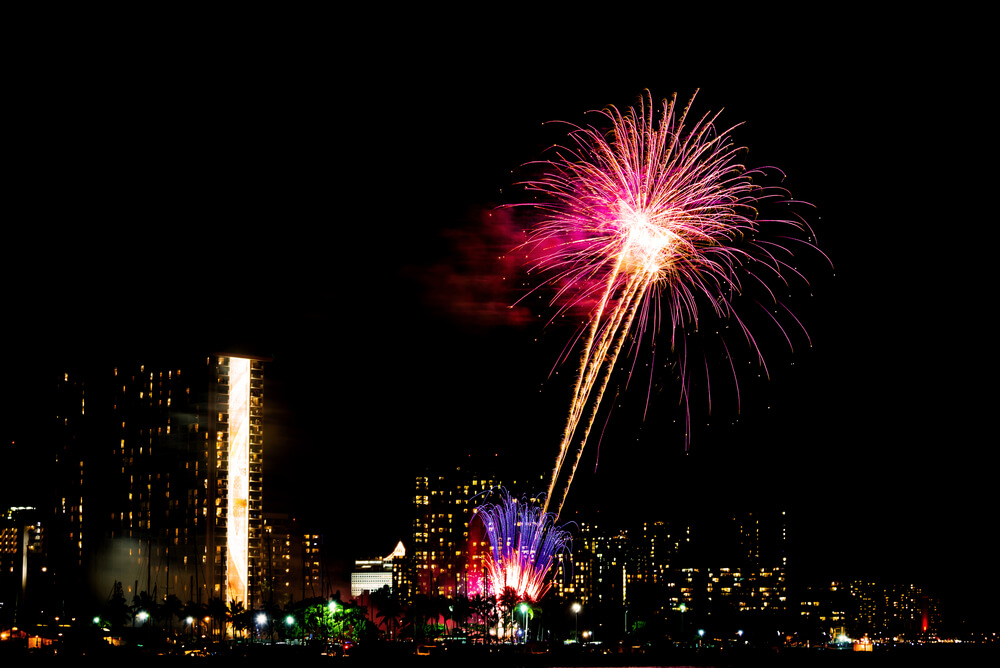 New Year's Eve fireworks in Hawaii
