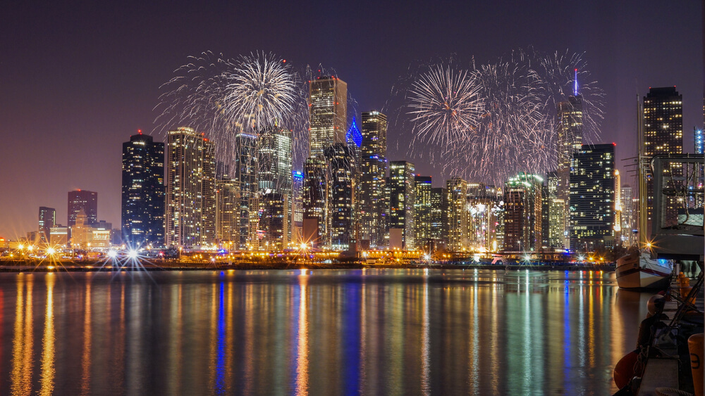 New Year's Eve fireworks in Chicago