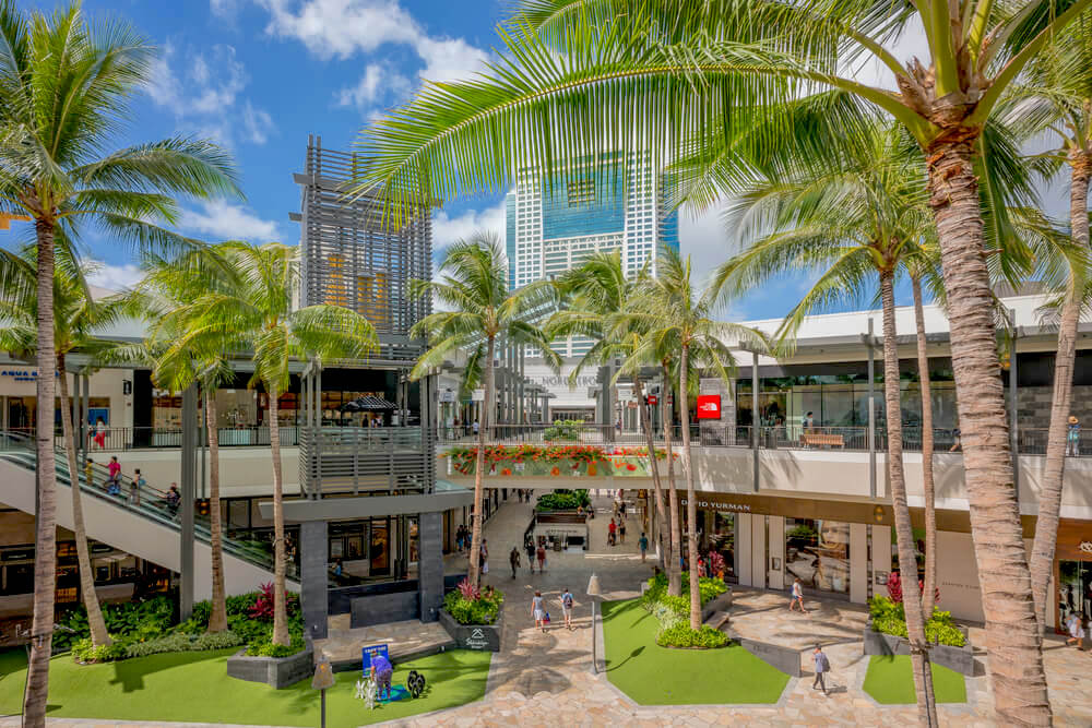 Honolulu, Hawaii, USA, Oct. 31, 2016: Panorama view of the new Ala Moana Shopping Center with a cloudscape background.