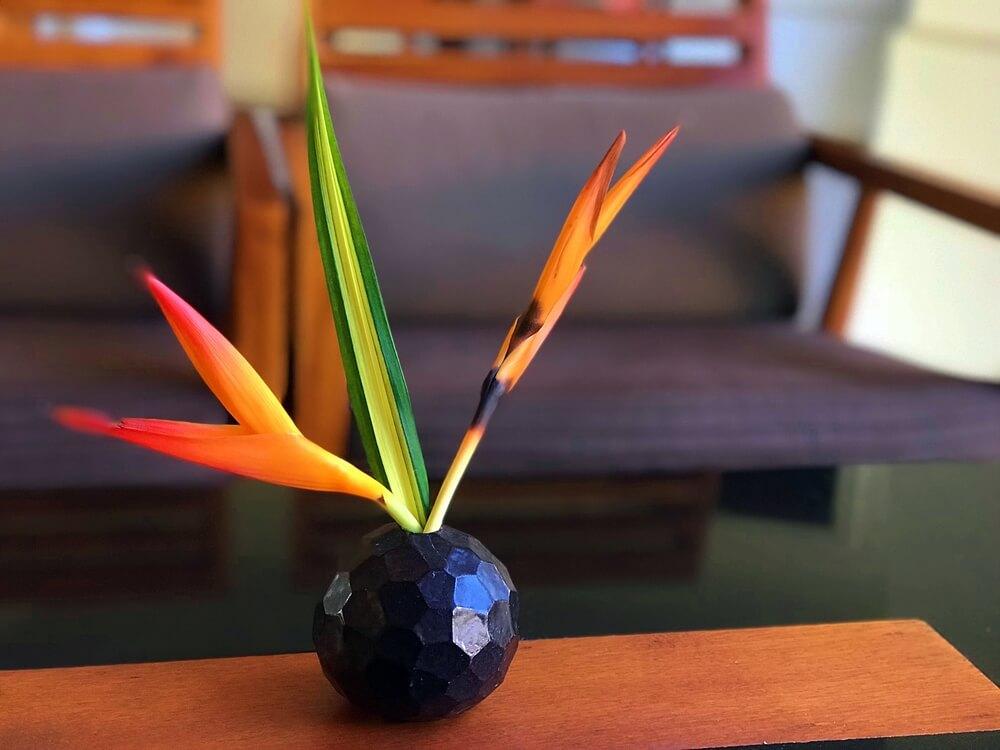 Canna flower on a coffee table