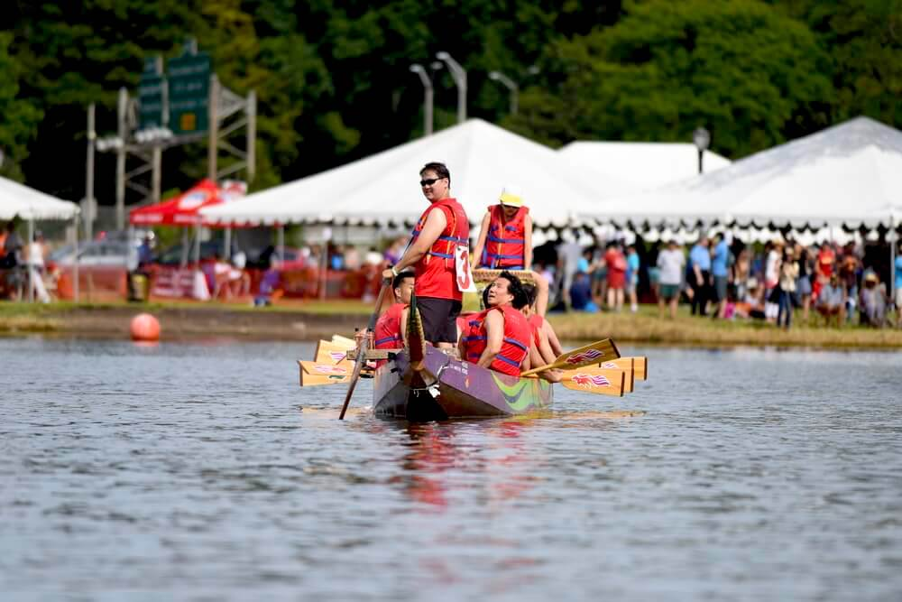 NEW YORK CITY - AUGUST 8 2015: the 25th annual Hong Kong Dragon Boat Festival took place in Flushing Meadows Corona Park, Queens