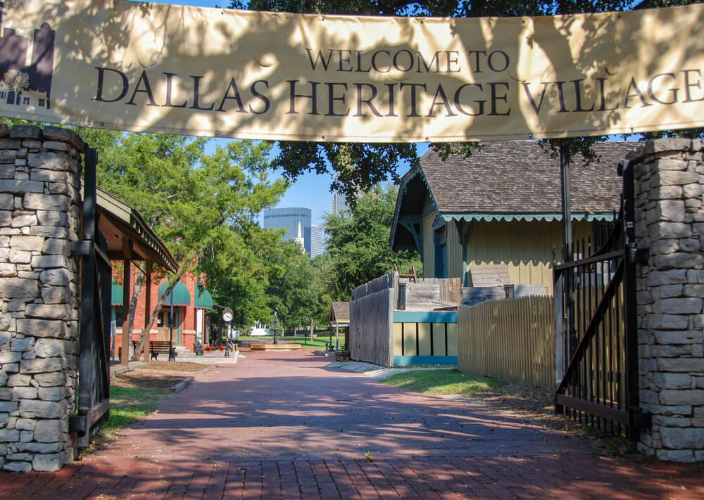 Dallas, Texas - September 2009: Landscape view of the entrance to the Dallas Heritage Village