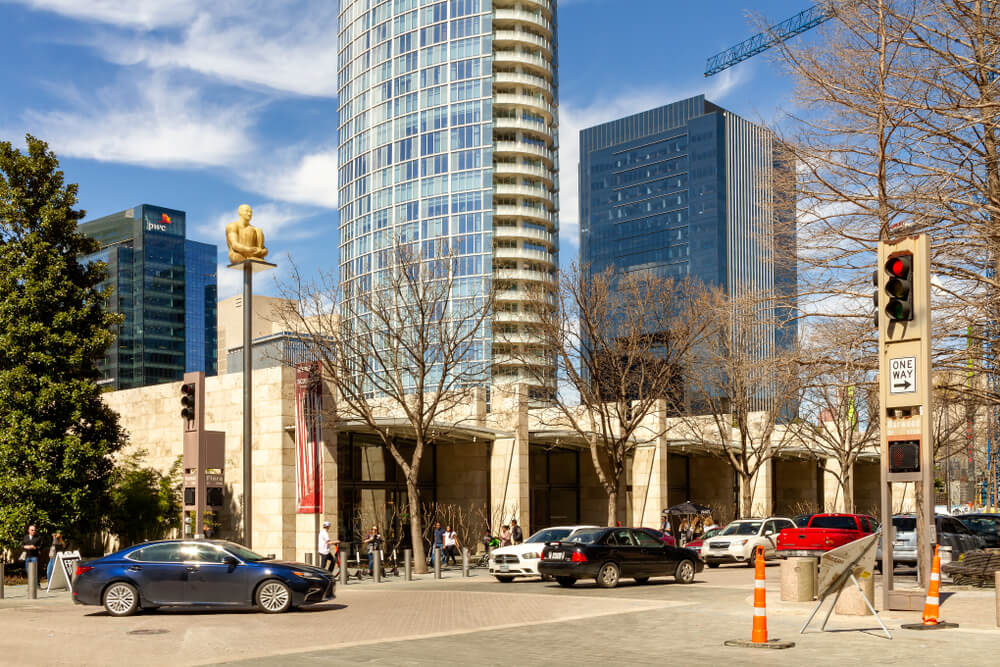 Dallas Arts District, March 16, 2019: The Arts District is a performing and visual arts district in Downtown Dallas and home to 13 facilities including museums, theaters, as the Nasher Sculpture Cent