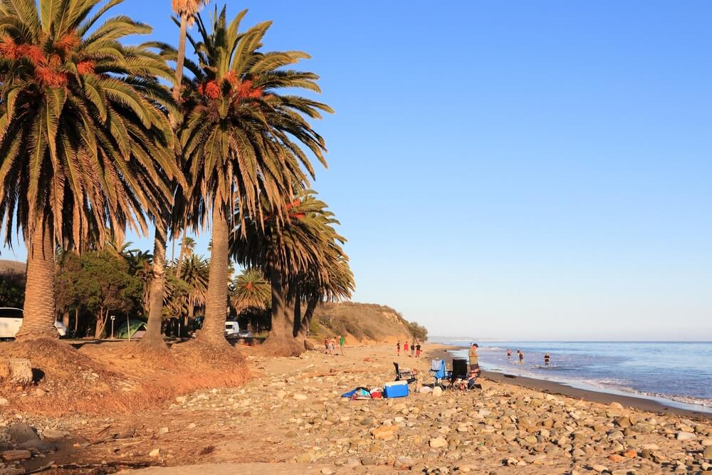 REFUGIO STATE BEACH, USA - APRIL 6, 2014: People visit Refugio State Beach near Santa Barbara, California. California State Park system manages 280 properties including state beaches