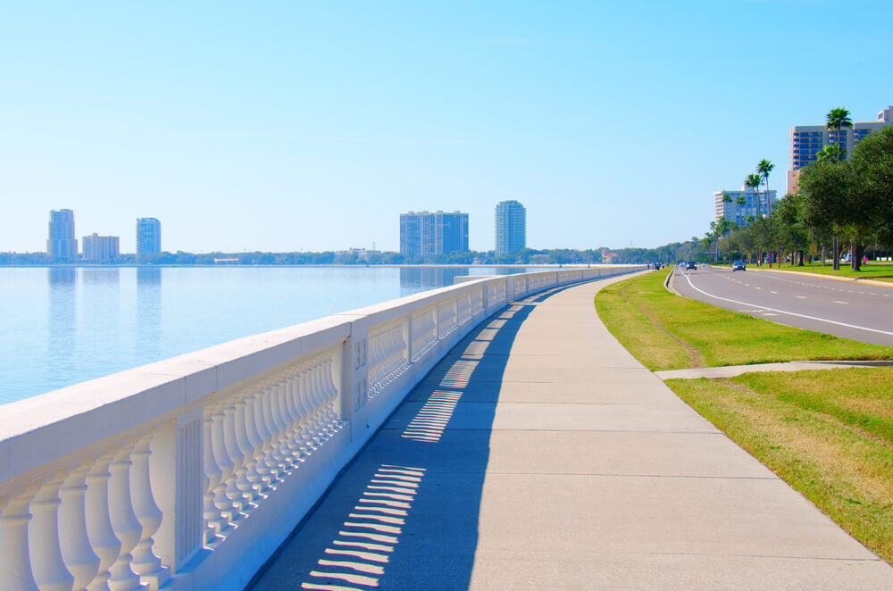 The view from Bayshore Boulevard in Tampa, Florida