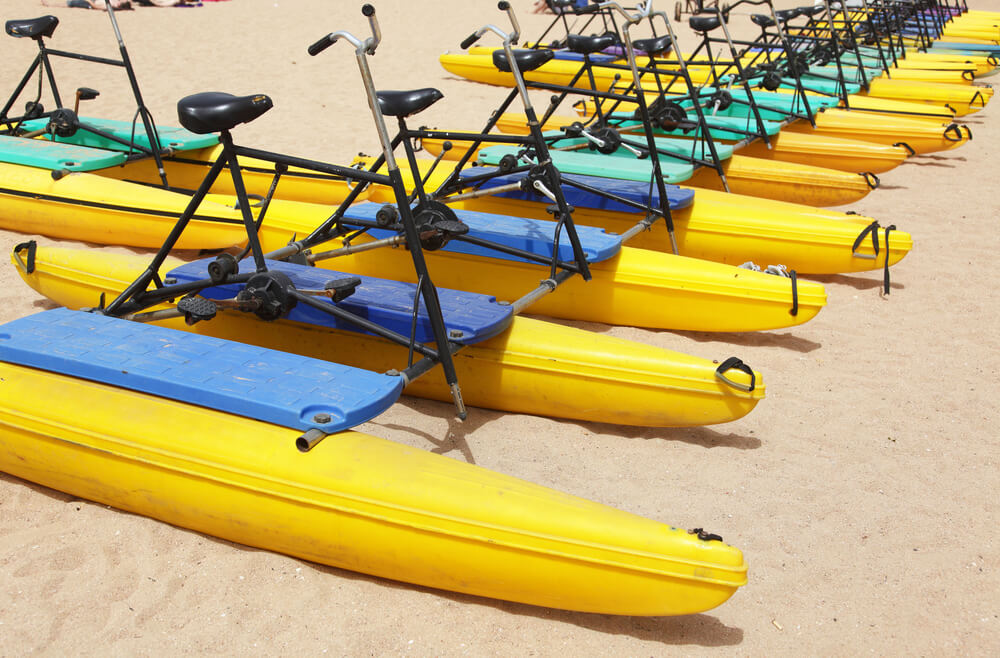 Water bikes on the beach in Tampa, Florida